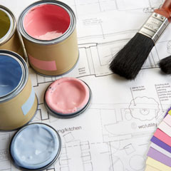 paint cans brushes colors