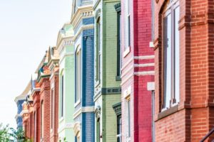 painted brick homes of several different colors