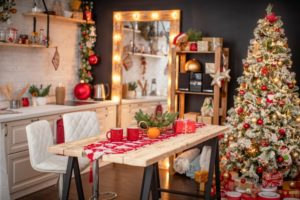 a holiday-themed kitchen with painted cabinets